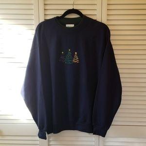 NWT Womens Large Navy Blue Christmas Sweatshirt